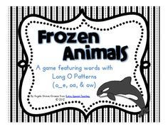 Frozen Animals - A Long O Game featuring patterns with o_e, oa, and ow