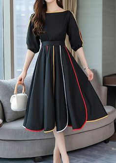 Solid Sleeves A-line Knee Length Casual/Elegant Dresses Black Dress With Sleeves, Dresses With Sleeves, Dress Black, Casual Dresses, Fashion Dresses, Short Dresses, Short Elegant Dresses, Cute Dress Outfits, Ladies Dresses