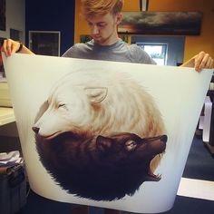 "Me and a A0 size print of ""Yin and Yang"" 🤓 It's huge!! If you want to get a signed print by me, you can visit my shop :D Link is in my bio! ❤️ #art #arte #worldofartists #art_spotlight #art_realisme #art_helps #yinyang #wolf #wolves #print #prints #printshop #me #justme #selfie #blackandwhite #digitalart #fantasy #fantasyart"
