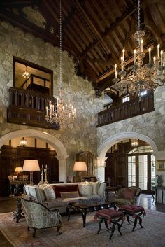 My dream home! A breathtaking living room, done in a formal Tudor style, with a steeply pitched vaulted wood ceiling and rustic stone walls (via Interior Designer -Mark Cravotta) Tudor House, Style At Home, Casas Tudor, Casa Estilo Tudor, Tudor Style Homes, Tuscany Style Homes, French Country Living Room, Rustic Stone, Wood Stone
