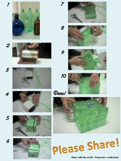 weave strips of plastic bottles into a box or basket:) Plastic Bottle Crafts, Recycle Plastic Bottles, Recycled Bottle Crafts, Diy Greenhouse, Diy Recycle, Cool Diy Projects, Craft Tutorials, Diy And Crafts, Recycled Materials