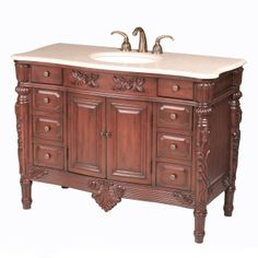 Stufurhome GM-5112-48-PS 48-in Chateau Single Sink Vanity with Perlato Sicilia Top at ATG Stores