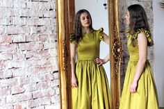 Long cockyail dress Unique prom ball dress Elegant tulle yellow evening gown , by PerunowyKwiat on Etsy