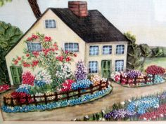 Framed Embroidery Picture Old Cottage House with Garden and trees