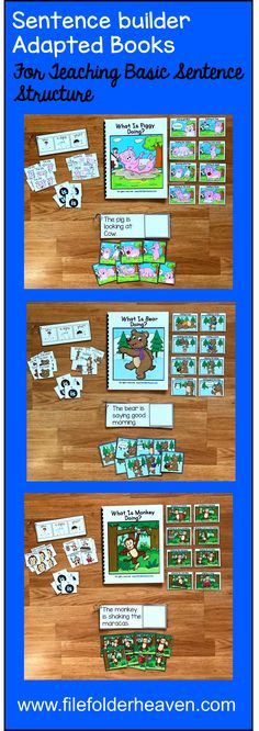 Sentence Builder Books focus on identifying action words, building sentences, and basic sentence comprehension. Each book or set includes 1 book for identifying action words, 1 flip book for building sentences, and 1 flip book for sentence comprehension.