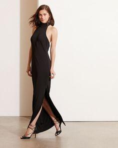 Jersey Mockneck Halter Gown - Lauren Maxi - RalphLauren.com