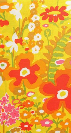 20 x 20 LAMINATED cotton fabric - Keely citrus floral (aka oilcloth coated vinyl fabric ) - Alexander Henry