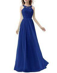 Voguevers Women's Long Chiffon Bridesmaid Dress Lace See-through Prom Dresses