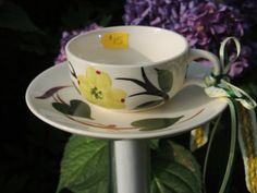 Blue Ridge Pottery Dogwood and Ivy English Tea Cup Butterfly Bath or Bird Feeder glass OOAK Upcycled China INTL