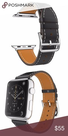 8fb2d3a1351 Black Leather Luxury Apple Watch Band - 42mm This top grade leather watch  band adjusts perfectly