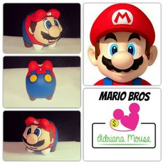 Mario Bros Piggy Banks, Fun Crafts For Kids, Mario Bros, Cool Kids, Diy Projects, Pasta, Pottery, Marvel, Diy Crafts