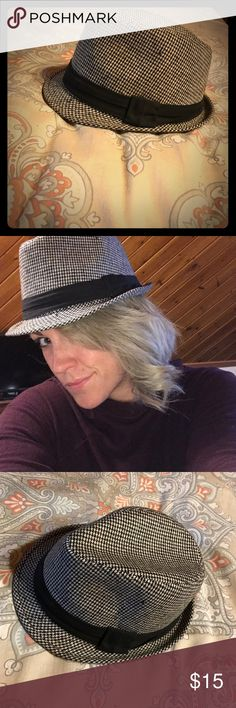 Super cute houndstooth fedora L/XL Sexy and chic houndstooth fedora. Never worn. Fits my larger head perfectly. JFH Headwear Accessories Hats