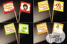 Flags com alguns personagens do Sítio do Pica Pau Amarelo.