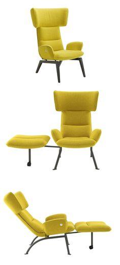 Wingchair with armrests @-CHAIR by ROSET ITALIA | #design Toshiyuki Kita #yellow @ligneroset