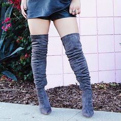 Grey Studded Thigh High Boots