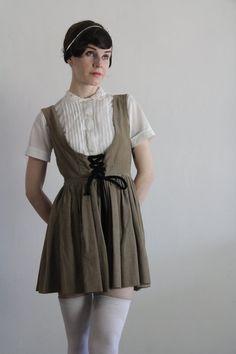 Vintage 60s Dirndl  Corduroy Mini Dress  Mod at VeraVague.etsy.com