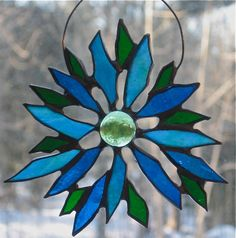 Stained Glass Floral Suncatcher by HeathersHandiWorks on Etsy