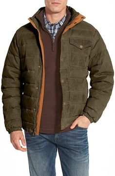 Timberland 'Mount Davis' Water Resistant Waxed Canvas Down Jacket