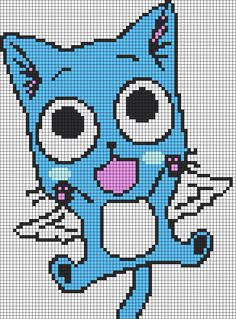 Alpha friendship bracelet pattern added by happy fairy tail japanese anime cute cat kitty flying wings. Pixel Art Fairy Tail, Fairy Tail Cat, Fairy Tail Happy, Beaded Cross Stitch, Cross Stitch Embroidery, Cross Stitch Patterns, Perler Beads, Perler Bead Art, Pixel Pattern