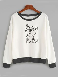 Cat Print Drop Shoulder Sweatshirt