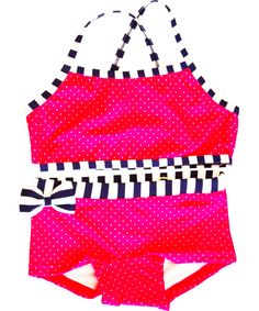 Name It Flashy Pink Bikini With White Dots and Striped Bow. name-it.en.emilea.be