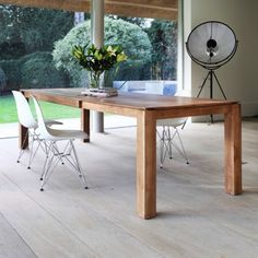 Slice extending dining table in solid teak or solid oak - size options available