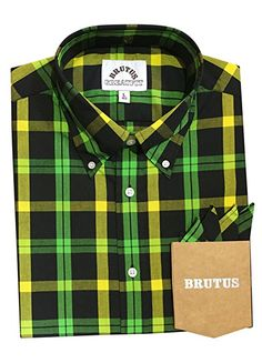 fc9129c51c Brutus 1012GF Check Shirt Jamaican Tartan Rude Boy Black Green Yellow  Greatfit  Amazon.co.uk  Clothing