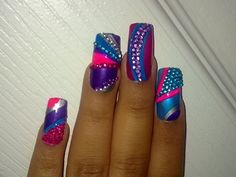 Colorful Bling Nails