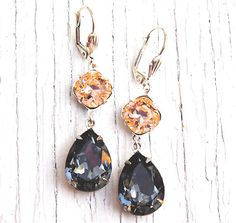Gray Peach Earrings  Swarovski Crystal Dangle by MASHUGANA on Etsy, $48.50
