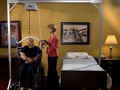 A Freestanding Overhead Patient Lift for Home Health Care. A Single Caregiver can Safely Transfer a Patient without Fear of Injury.