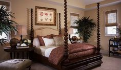 Barclay Butera Interior Design - Town and Country - Los Angeles Interior Designer, Newport Beach Interior Designer, Park City Interior Designer, New York Interior Designer - Four Poster Bed - Master Bedroom - Wooden Bed Frame, Brown Bedding - Moody Bedroom