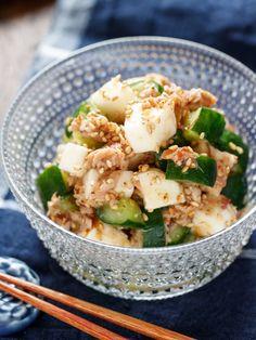 長いもときゅうりを使った、シャキシャキ食感が楽しい夏向け副菜♪ 作り方は、とっても簡単で、長いもときゅうりを角切りにし、あとは、梅+ツナ+おかかと合わせてポン酢だれで和えるだけ。 旨味がたっぷりな上に、梅とポン酢であと味さっぱり。 疲れた胃腸にもオススメです!! Clean Recipes, Real Food Recipes, Cooking Recipes, Healthy Recipes, Healthy Dishes, Healthy Cooking, Food Dishes, Vegetable Appetizers, Vegetable Recipes