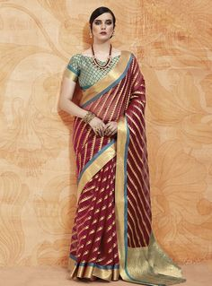129db0a7d56d0 Buy Maroon Silk Saree With Blouse 144341 with blouse online at lowest price  from vast collection