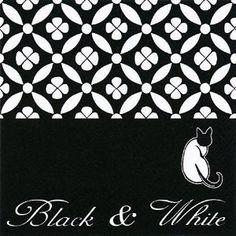 Servietten, schwarz-weiß, Katze, 20 Stück, 33x33cm