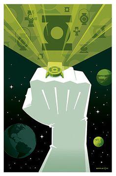"""""""Green Lantern By Tom Whalen"""" Green Lantern Hal Jordan, Blue Lantern, Green Lanterns, Green Lantern Sinestro, Green Lantern Comics, Comic Books Art, Comic Art, Ghostbusters Poster, Tom Whalen"""