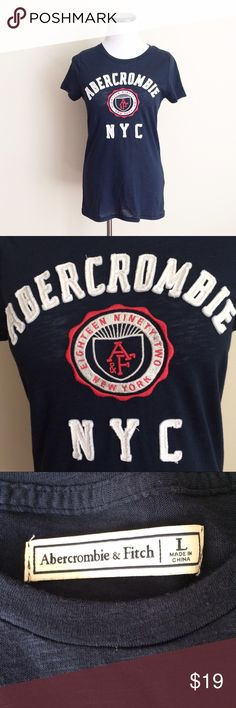 Abercrombie & Fitch AF navy blue T-Shirt Abercrombie navy blue fitted tee shirt. Abercrombie stitches on front. No damage, only worn once or twice. Size large. Abercrombie & Fitch Tops Tees - Short Sleeve