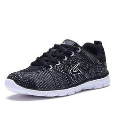 Look what I found on #zulily! Black & White Criss-Cross Mesh Running Shoe #zulilyfinds