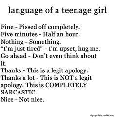 #LanguageOfATeenAgeGirl