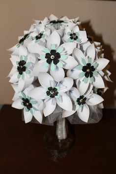 Mint, Black & White Origami Bouquet
