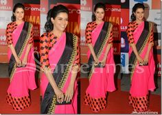 Bollywood and South Indian actress Asin in designer Arpita Mehta saree at SIIMA She looked beautiful pink and black saree, that she wore with a matching printed blouse like on the saree's bottom. Gold embellished patch work around it black. Manish Malhotra Saree, Kareena Kapoor Saree, Indian Bridal Sarees, Crepe Saree, Wedding Sari, Sari Blouse Designs, Saree Trends, Embroidery Saree, Black Saree
