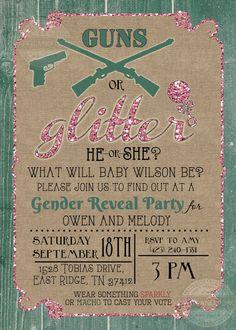 Guns or Glitter Gender Reveal Baby Shower by PaperandPomp on Etsy