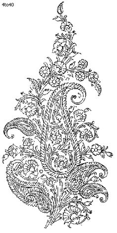 Indian Saree - Textile Patterns & Embroidery Designs 7 - Flower Paisley