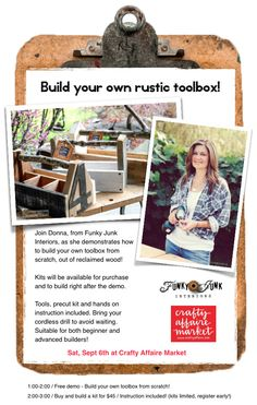 Build your own rustic toolbox, workshop by FunkyJunkInteriors.net, at Crafty Affaire Market!