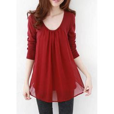 Casual Style Scoop Collar Chiffon Splicing Long Sleeve Women's T-Shirt, WINE RED, XL in Tees & T-Shirts | DressLily.com