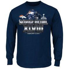 Denver Broncos Super Bowl XLVIII On Our Way VI Long Sleeve T-Shirt - Navy Blue