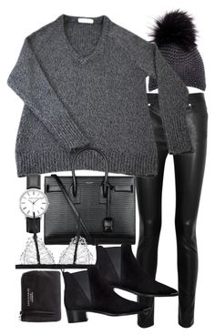 """Untitled #19469"" by florencia95 ❤ liked on Polyvore featuring Inverni, Acne Studios, T By Alexander Wang and Yves Saint Laurent"
