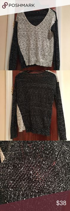 Fate Black & Gray Sweater Great v neck sweater! It's see through so you need a Cami underneath, but it's in excellent condition! Sweaters V-Necks