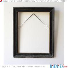 """Pyramid of Cheops"" by Sebastian Bieniek (B1EN1EK), 2016. Old frame on wall. 69,5 x 57 cm. From the series ""Mauntains"".  More ➔ https://www.b1en1ek.com/works/conceptual-art/2016-mountains/  #SebastianBieniek #Bieniek #B1EN1EK #BieniekMountains #BieniekFrames #BieniekMount #BieniekCheopsPyramid #artwork #art #Berlinart #CheopsPyramid #BieniekPyramidOfCheops #PyramidOfCheops"