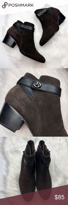 Coach Chocolate Brown Suede Turnlock Booties So cute and perfect for winter! Excellent pre owned condition, almost like new. Minor wear to bottoms. Size 6. Dark chocolate brown suede with black leather turnlock straps. No trades!! 012517200gwb Coach Shoes Ankle Boots & Booties