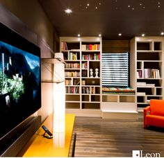 Leon Speakers Living Space Theater Featuring Horizon Series Hz313 X A In  This Vibrant Library Space